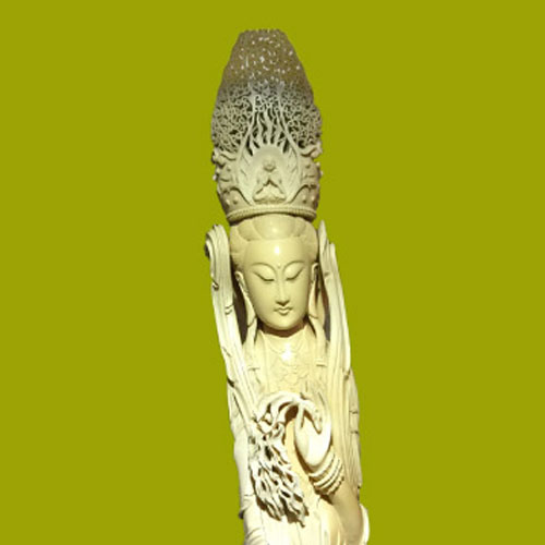 Japan's Largest Avalokitesvara Ivory Sculpture(Koukadou's Products/ Results)