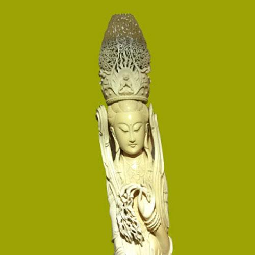 Largest in Japan Avalokitesvara Ivory Sculpture(Koukadou's Products/ Results)