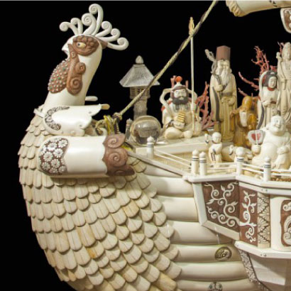Japan's Largest Ivory Sculpture of Treasure Boat Bearing the Seven Deities of Good Fortune