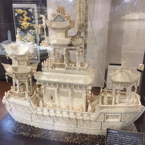 中国最大級象牙彫刻 皇帝慶楽船